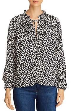 Red Haute Printed Tie-Neck Blouse