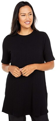 Eileen Fisher Round Neck Elbow Sleeve Tunic (Black) Women's Clothing
