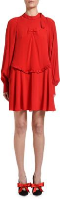 No.21 Mock-Neck Long-Sleeve Mini Keyhole Dress