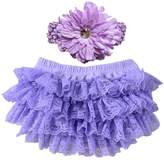 Wennikids Lace Ruffle Diaper Cover Bloomer and Headband SET for Baby Girls Small