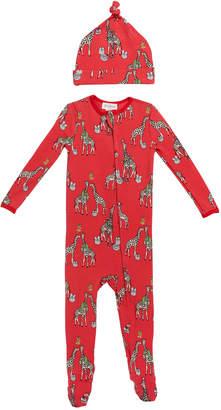 Bedhead Pajamas Girl's Holiday Giraffe-Print Footie Pajamas w/ Matching Hat, Size 3-24 Months