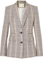 Maje Checked Woven Blazer - Gray