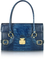 L.a.p.a. Indigo Blue Croco Stamped Italian Leather Shoulder Bag