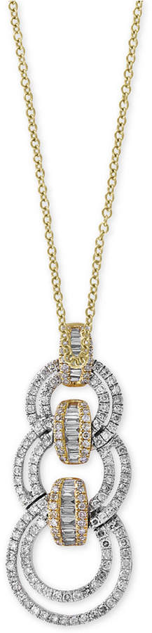 Effy Duo by Diamond Link Pendant Necklace (7/8 ct. t.w.) in 14k Gold and White Gold