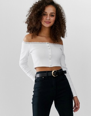 Bardot Asos Design ASOS DESIGN with button front and lace with long sleeve-White