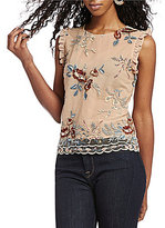 Lucy Paris Embroidered Ruffle Mesh Blouse