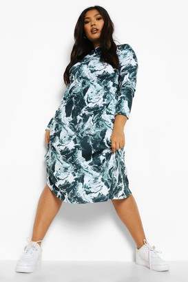 boohoo Plus Marble Print Long Sleeve Midi Dress