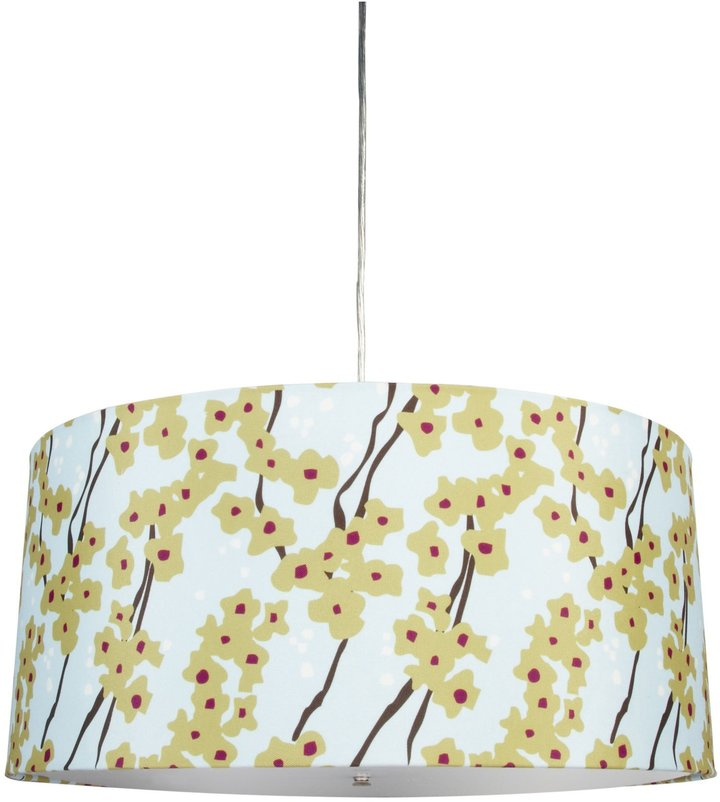 "Inhabit Fabric Pendant Lamp - Pyrus in Cornflower - 20"" x 9"""