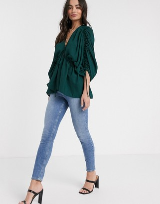 Asos DESIGN kimono sleeve top with channelling detail in Green