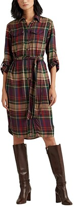 Lauren Ralph Lauren Plaid Twill Shirtdress (Red/Green Multi) Women's Dress