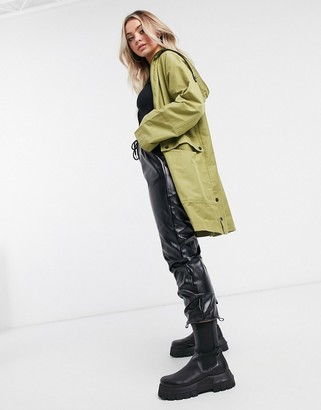 NA-KD lightweight hooded parka in green
