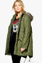 Boohoo Plus Louisa Parka With Faux Fur Hood
