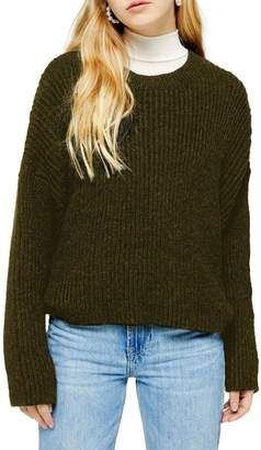 Topshop Half-Cardigan Crew Neck Sweater