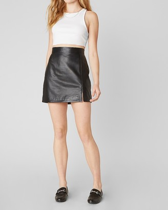 Express Bb Dakota Genuine Leather Mini Skirt