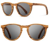 Shwood Women's 'Belmont' 48Mm Polarized Wood Sunglasses - Zebrawood/ Grey
