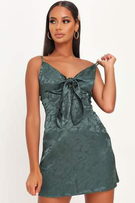 I SAW IT FIRST Emerald Green Floral Tie Front Satin Slip Dress