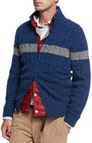 Brunello Cucinelli Donegal Cable-Knit Zip-Front Cardigan, Medium Blue