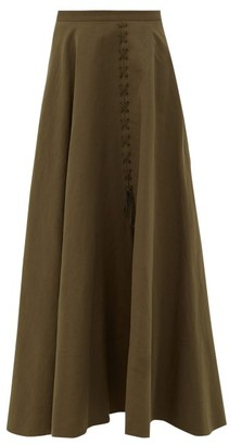 Brock Collection Ramerino Laced Slubbed Cotton-blend Canvas Skirt - Khaki