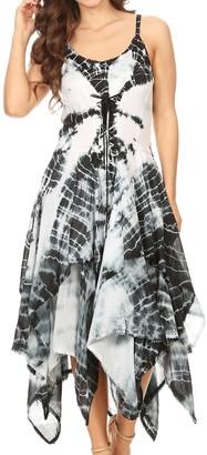Sakkas 902 Annabella Corset Bodice Handkerchief Hem Dress - White/Black - One Size Regular