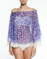 Milly Panama Brushstroke-Print Silk Chiffon Coverup, Cobalt