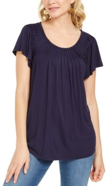 Style&Co. Style & Co Pleated-Neck Flutter-Sleeve Top, Created for Macy's