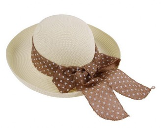 Bigood Women Polka Dot Band Summer Beach Brim Bowler Cloche Hat Straw Sun Cap Cream