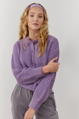 Urban Outfitters Plush Cardigan - Purple XS at