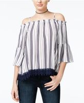 Almost Famous Crave Fame Juniors' Lace-Trim Off-The-Shoulder Top