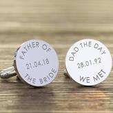 Nest Personalised 'Dad The Day We Met...' Wedding Cufflinks