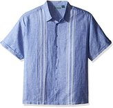 Cubavera Men's Big and Tall Short Sleeve Engineered Dobby Striped Panels Woven Shirt