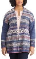 Chaps Plus Size Fairisle Open-Front Cardigan
