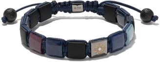 Shamballa Jewels 18kt white gold, diamond and blue sapphire Lock beaded bracelet