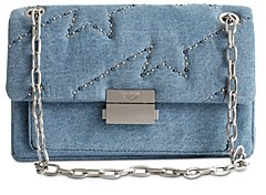 Zadig & Voltaire Embroidered Denim Chain-Strap Handbag
