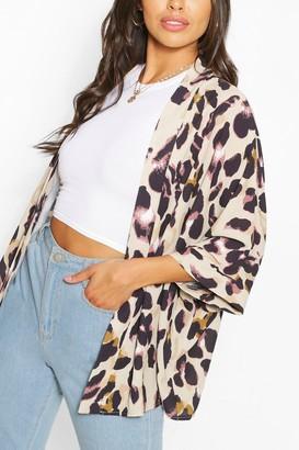 boohoo Petite Leopard Woven Kimono