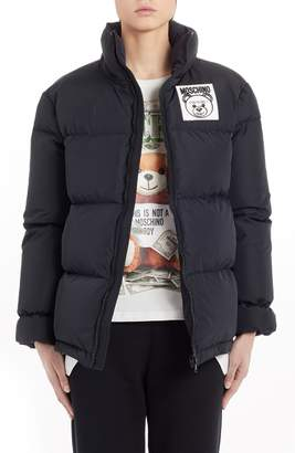 Moschino Bear Logo Patch Puffer Jacket