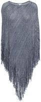 Minnie Rose S39421C16 Cotton Open Mesh Marled Fringe Hankie Poncho in Black/White