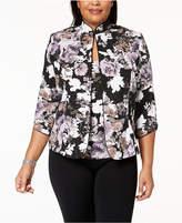 Alex Evenings Plus Size Metallic Floral-Print Jacket & Shell