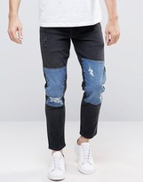 Asos Stretch Slim Ankle Grazer Jeans With Blue Panels And Rips in Black