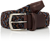 Barneys New York Men's Woven Elastic Belt-BROWN, BLUE, BLACK