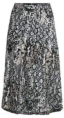 Alice + Olivia Women's Athena Python-Print Stretch Silk A-Line Midi Skirt