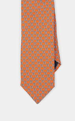 Barneys New York MEN'S CHAIN-PRINT SILK NECKTIE - RED