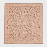 Paul Smith Men's Taupe 'Vine Floral' Cotton-Silk Pocket Square