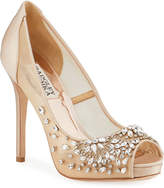 Badgley Mischka Pepper Crystal-Embellished Satin & Lace Pumps