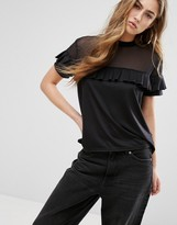Daisy Street T-Shirt With Mesh Panel And Ruffle Layer