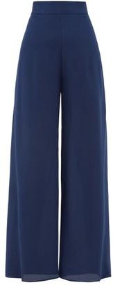 Three Graces London Flippa High-rise Side-slit Silk Trousers - Blue