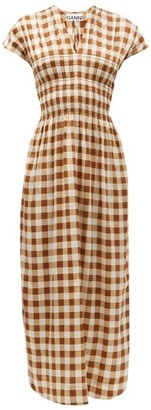 Ganni Shirred Gingham Silk-blend Crepe Dress - Brown Multi