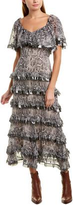 Rebecca Taylor Ruffle Silk-Blend Midi Dress
