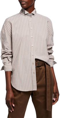 Brunello Cucinelli Monili Collar Striped Poplin Shirt