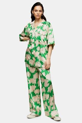 Topshop Green Floral Print Pants