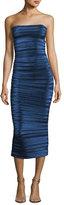Thierry Mugler Strapless Pleated Metallic Midi Dress